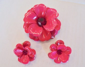 Vintage Enamel Flower Power Brooch / Earrings Set / Lot Red Rhinestone 1960's Retro Art Deco Statement Runway