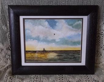Vintage watercolor, 1976 oceanside scene, private artist