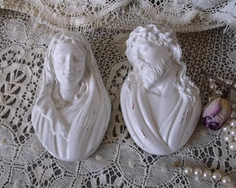 Vintage, Jesus and Mary Chalkware wall decor, PAIR, Shabby cottage white
