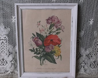 Shabby Cottage, Vintage Framed  floral print picture, botanical picture, time worn teastained