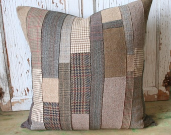 Tweed Patchwork Pillow Cover - Recycled Brown Wool, 20 Inch - FREE SHIPPING