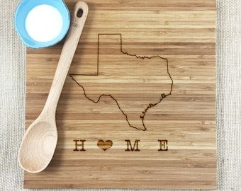 Personalized State Cutting Board, Bamboo, Personalized Gift For Housewarming, Weddings, Showers, Relator Gift, All States Available