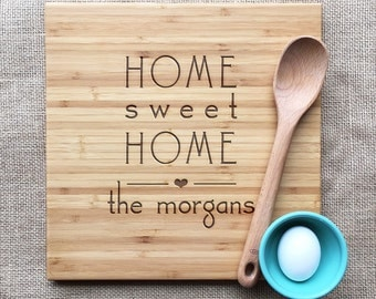 Home Sweet Home Cutting Board Personalized With Family Name, Personalized Bamboo Home Sweet Home Cutting Board, Housewarming Gift