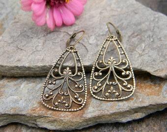 Bohemian earrings brass filigree teardrop dangle earrings bohemian jewelry gypsy earrings boho style earrings