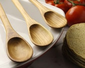 Set of hand carved long handled spoons for sauces and perfect for filling enchiladas of Cherry wood , spoon set
