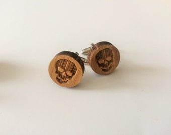 REAL WOOD CUFFLINKS / Skull Cuff Links  / Skeleton Cufflinks / Halloween cufflinks / Choice of Stain Color  / 5th anniversary  /Gift Boxed