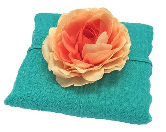 Turquoise Cheesecloth Wrap with Peach and Orange Silk Flower Headband for Newborn, Photography Prop, Photo Prop, Baby Shower Gift