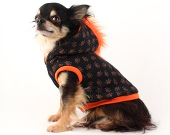 Dog Clothes Orange Mohawk Hoodie for Dogs with black and orange skulls Halloween costume for dogs