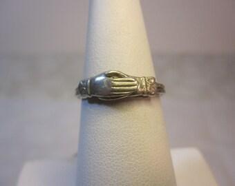 Vintage Sterling Fede Gimmel Clasping Hands Ring