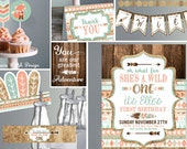 Wild ONE Tribal First Birthday Printable Invitations and Decorations - Coral Teal and Gold - Wild One First Birthday- Kit Instant Download