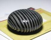 Paperweight Teacher Boss Gift Desk Office Art Raku Ceramic Pottery Sphere Small Sculpture Black Grey Stripe Abstract