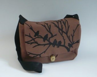 Black Bird Messenger Bag, Brown Twill Canvas, Handprinted