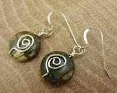 Red Creek Jasper Earrings, Green Stone Earrings, Rustic Earrings, Wire Wrapped Earrings, Swirl Earrings, Sterling silver Earrings