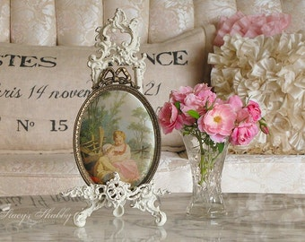 Lovely FRENCH Children PICTURE On SILK, Ornate Frame, Italy, France, Shabby Chic