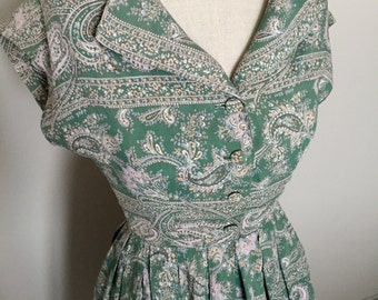 Vintage 40s 50s green paisley cotton day dress S
