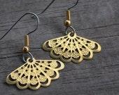 Gold Fan Earrings on Surgical Stainless Steel Earring Wires, Raw Brass Fan Charms