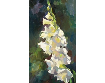 White gladiolus in the sunshine. Original oil painting. Impressionistic painting. Painted from life.