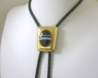 Bolo Tie Western Necktie Black White Stone Scrolled Gold