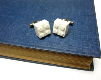 White LEGO Cuff links Brick Cufflinks