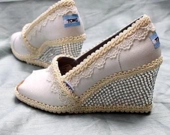 Custom Wedding TOMS --  Lace Wedge TOMS Designs- Swarovski Crystal TOMS