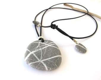 Stone Necklace River Rock Jewelry Mediterranean Natural Stone Jewelry Unisex Gift Beach Stone Necklace Leather Cord Black MY WAY