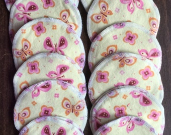 Nursing pads/Facial Wipes 12 sets (24 total) made with 4 layers of 100% cottlon flannel