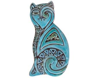 Cat sculpture // Cat art // Ceramic cat // Cat Wall art  // Cat ornament // Deco cat right // 26cm // Turquoise
