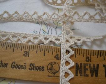 "Ecru Beige Crochet Chevron Cotton Lace Trim 7/16"" 10MM wide cluny lace ric rack edge retro yardage edging insert gift tie embellishment"