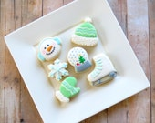 Assorted Christmas Cookies - Snow Globe, Ice Skate, Snowman, Snowflake, Mitten, Winter Cap - Iced Sugar Cookies - (2 Dozen)