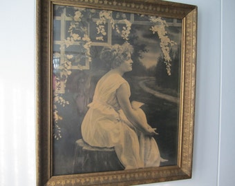 Art Deco Lady Wall Art Gold Frame Under Glass Woman Black and White Lady Picture Vintage Decor