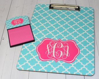 Clipboard and Sticky Note Holder Set - Monogram Gift - Teacher Gift - Coworker Gift - Personalized Gift