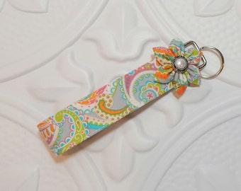Keychain Key Fob - Fabric Keychain - Key Fob Wristlet - Teacher Appreciation - Key Lanyard - Orange Blue Green Pink