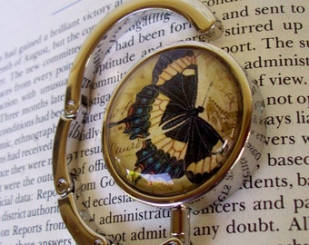 Steampunk Bag Hanger (H504) - Purse Hook - Blue Butterfly Vintage Artwork Under Glass