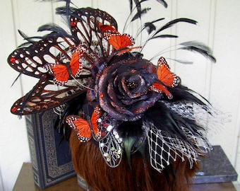 Fascinator (F608) Royal Ascot, Derby Races Hat, Sequin Ruffles, Feathers, Black Organza Roses, Silver Netting, Swarovski Crystals