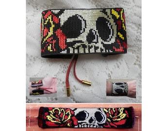 Skull & Roses Loom Beaded Cuff Bracelet