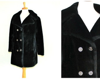 Mod vintage black faux fur coat Saks Fifth Avenue / 1950s or 1960s ladies luxury fashion / all Borgana Fabric soft & furry