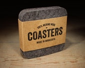 100% Merino Wool Felt Square Coasters - 5mm Thick German-milled Felt - Rich, Lightfast Colors - Natural and Renewable - Charcoal Gray