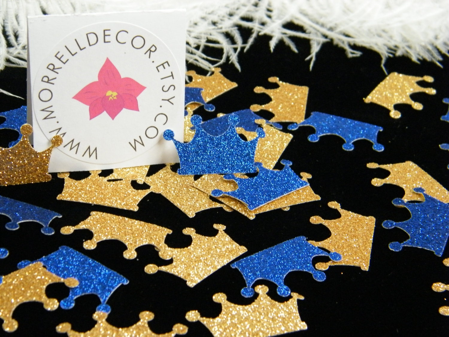Blue And Gold Baby Shower Decorations Royal Prince Baby Shower Decoration Crown Confetti Gold