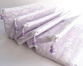 Wedding Clutches Lilac Lace, Set of 6 Bags, Bridesmaids Lilac Purses, Bachelorette Gifts Cosmetic Handbags