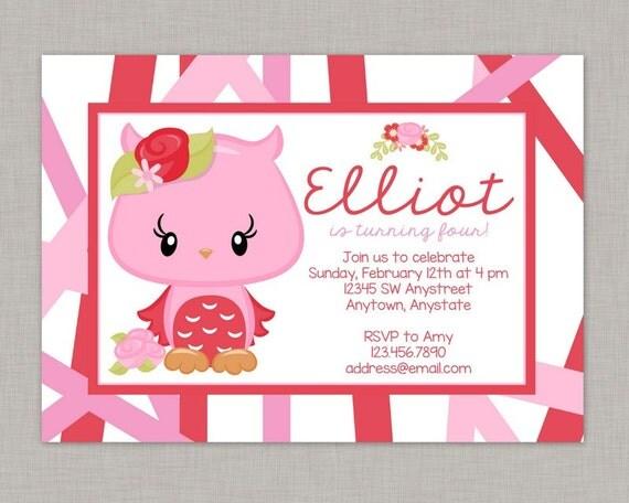 Owl Invitationowl Birthday Invitationowl Invitation Birthdaygirl