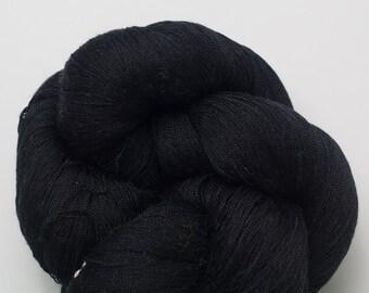 Black Recycled Cobweb Weight Pure Silk Yarn, SLK00045