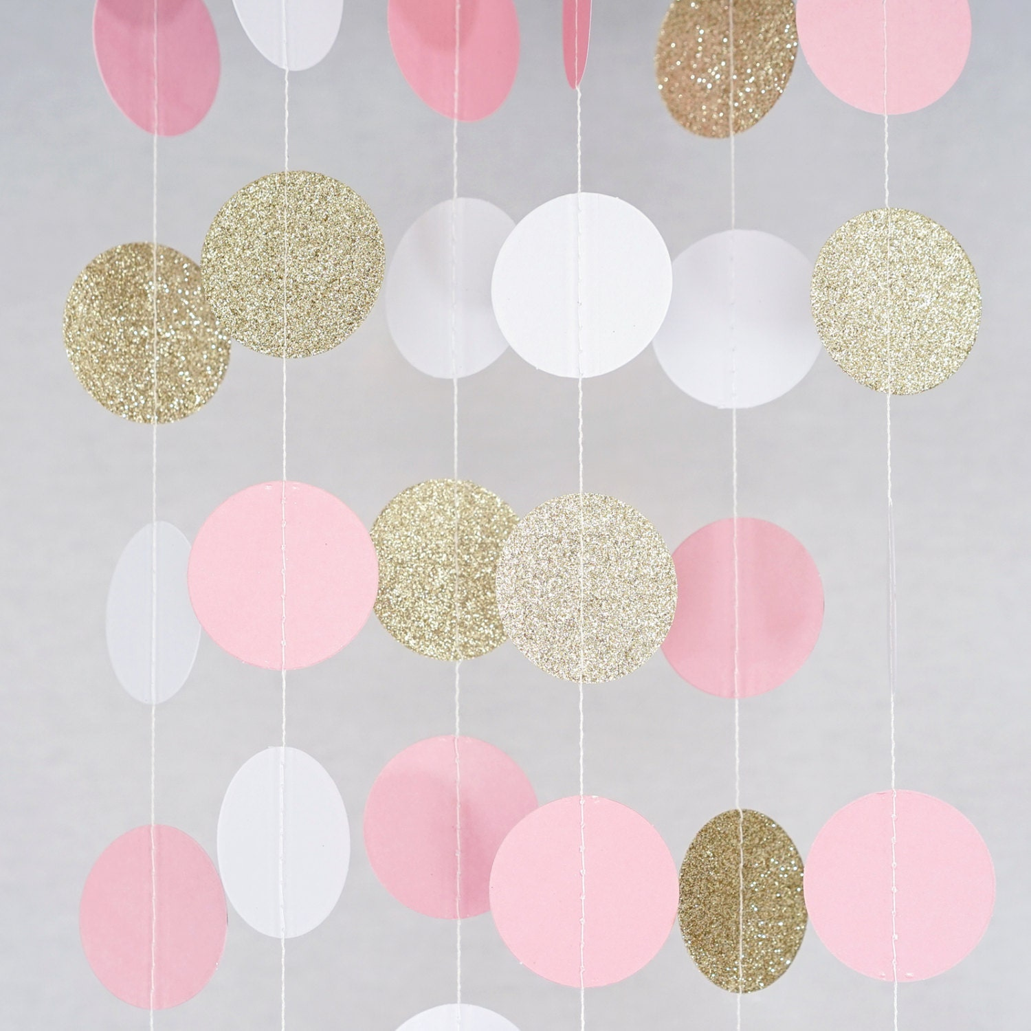 Pink white and gold glitter paper circle garland photo prop for Gold dot garland