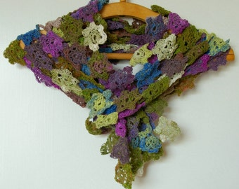 Crochet flowers scarf in multi colors green brown purple blue. Noro yarn.Handmade Accessory.Gift women.Colorful noro scarf.Decorative scarf
