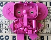 Hanging Bot - Pink Elephant - Wall Decor - Found Object Assemblage by Jen Hardwick