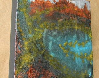Abstract Painting - Water on Fire - 8 x 8 - Acrylic on Canvas - Mixed Media by Jen Hardwick