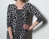 Black and white dress, animal print dress, jersey dress, mni dress, half lenght sleeves dress, recycled dress, original dress