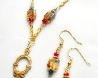 Carnival of Venice Necklace and Earrings Set in Red, Blue, and Amber