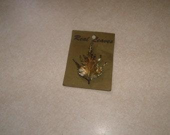 vintage pin brooch real goldtone leaf weeping birch