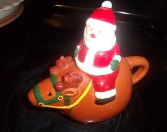 vintage teapot figural santa reindeer christmas