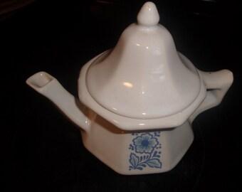 vintage teapot avon blue flower porcelain white personal